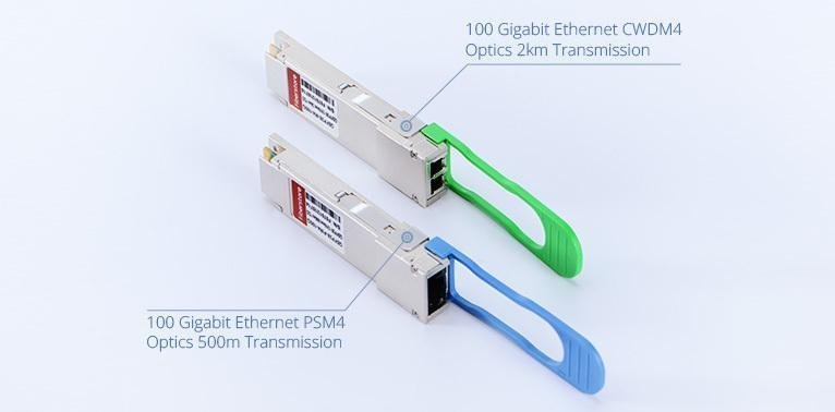 100GBASE-PSM4 and 100GBASE-CWDM4 QSFP28 transceivers